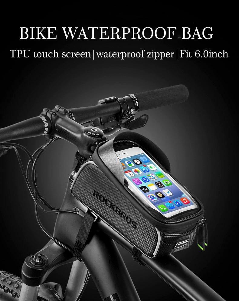 ROCKBROS Bicycle Bag Waterproof Touch Screen Cycling Bag Top Front Tube Frame MTB Road Bike Bag 6.0 Phone Case Bike Accessories